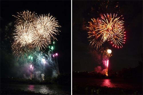 舟っこ流しの花火