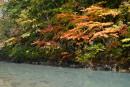 松川渓谷の玄武岩と紅葉