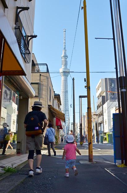 錦糸町の街と東京スカイツリー